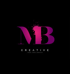 Purple pink mb m b letter logo design with ink vector