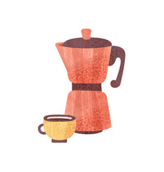 Red coffeepot and cup of fresh coffee with texture vector