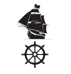 Sailing ship and steering wheel isolated on white vector image