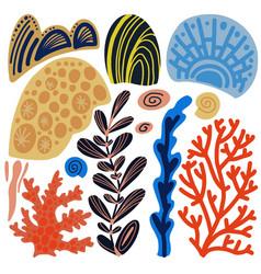 Sea corals cartoon set simple hand drawn elements vector