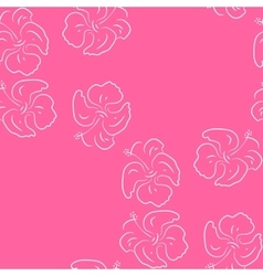 Seamless pattern of hibiscus flowers Pink floral vector
