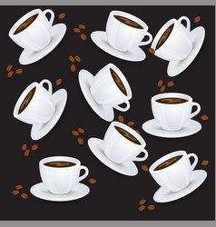 seamless pattern with coffee cups backdrop vector image