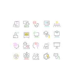 set line icons educational technology vector image