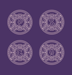 set monograms vector image
