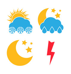 set of four multicolored weather icons vector image