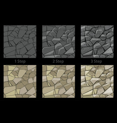 set seamless texture stone step step drawing vector image