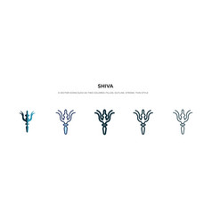 Shiva icon in different style two colored and vector