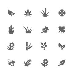 Simple plants icons vector