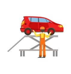 Smiling Mechanic Checking The Vehicle In The vector image