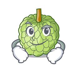 Smirking character custard apple tropical fruit vector