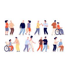 Social workers help group senior volunteers vector