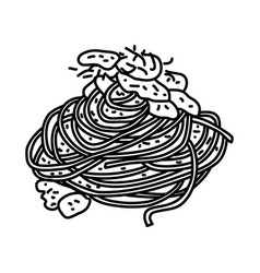 spaghetti carbonara icon doodle hand drawn or vector image