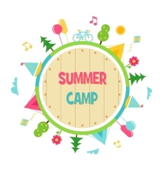 Summer Camp and Outdoor Activities Circle Sign vector