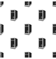 System unit icon in black style isolated on white vector