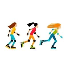 Three girls roller-skating vector