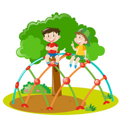 two boys climbing on climbing station vector image