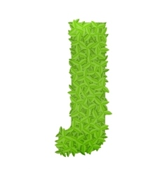 Uppecase letter J consisting of green leaves vector