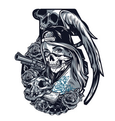 vintage chicano tattoo template vector image