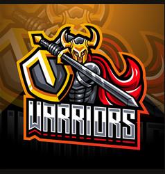 Warriors esport mascot logo design vector