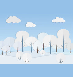 white trees in winter forest vector image