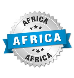 Africa round silver badge with blue ribbon vector image vector image