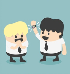Businessman show new smart watch cartoon flat desi vector image