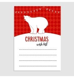 Cute christmas greeting card wish list polar vector