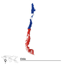 Map of Chile with flag vector image vector image