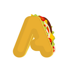 letter a tacos mexican fast food font taco vector image