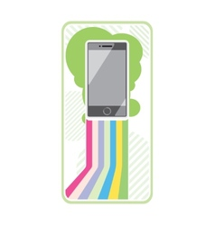 Smartphone on stylish background bands of lines vector image vector image
