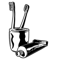Toothbrushes and toothpaste vector image