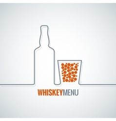 whiskey glass bottle line design background vector image vector image
