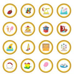 amusement park cartoon icon circle vector image vector image