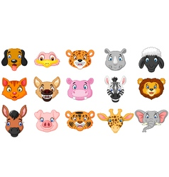 Animal head cartoon collection vector image vector image