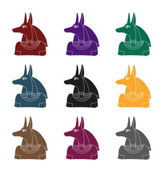 anubis icon in black style isolated on white vector image vector image