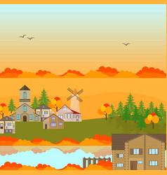 autumn village town background vector image