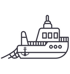 boat fishing line icon sign vector image vector image