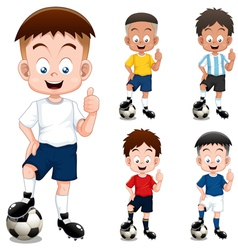Boy soccer player vector image vector image