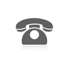classic phone icon with reflection on a white vector image vector image