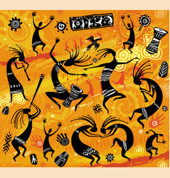 dancing figures in a primitive style vector image