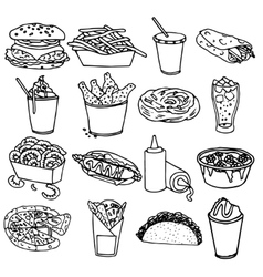 Fast food menu icons black outline vector image