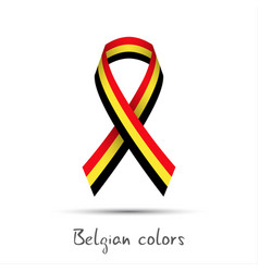 modern colored ribbon with the belgian tricolor vector image