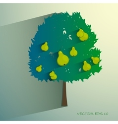 pear tree isolated on light background vector image vector image
