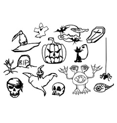 Set with halloween doodles vector image vector image