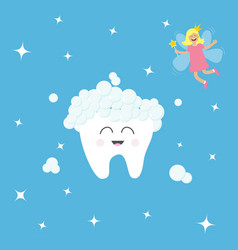 tooth icon tooth fairy flying wings magic wand vector image