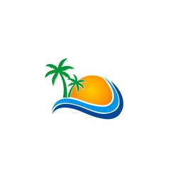tropic beach sun logo vector image vector image