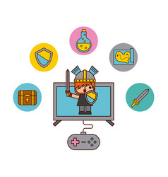 icon video games classic vector image
