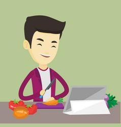 Man cooking healthy vegetable salad vector