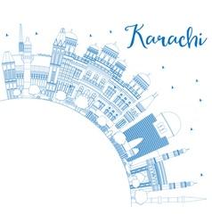 Outline Karachi Skyline with Blue Landmarks vector image vector image