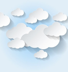 Paper clouds on light blue sky vector image vector image